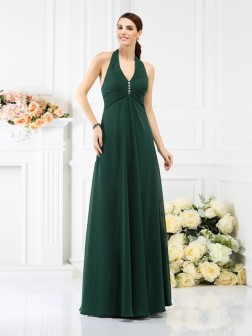 A-Line/Princess Halter Beading Sleeveless Floor-Length Chiffon Bridesmaid Dresses
