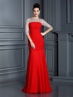 Trumpet/Mermaid Scoop Beading 3/4 Sleeves Floor-Length Chiffon Dresses