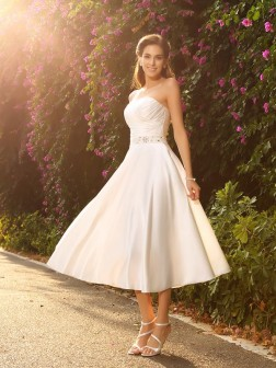 A-Line/Princess Sweetheart Beading Sleeveless Tea-Length Satin Wedding Dresses