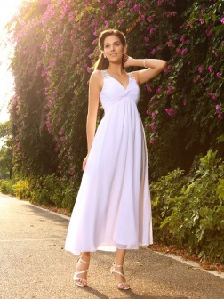 A-Line/Princess V-neck Beading Sleeveless Ankle-Length Chiffon Wedding Dresses