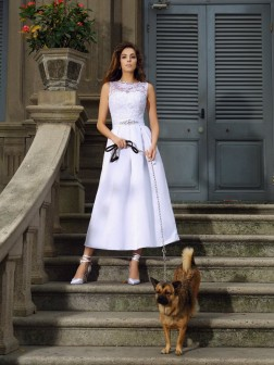 A-Line/Princess Bateau Applique Sleeveless Ankle-Length Satin Wedding Dresses