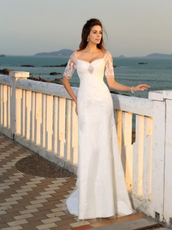 Sheath/Column Sweetheart Applique Short Sleeves Floor-Length Satin Wedding Dresses