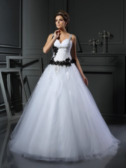 Ball Gown Straps Beading Sleeveless Chapel Train Tulle Wedding Dresses