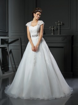 Ball Gown Square Beading Sleeveless Chapel Train Organza Wedding Dresses