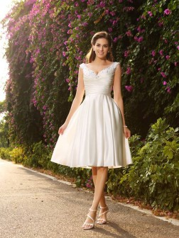 A-Line/Princess V-neck Beading Sleeveless Tea-Length Satin Wedding Dresses