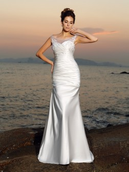 Trumpet/Mermaid Scoop Beading Sleeveless Sweep/Brush Train Satin Wedding Dresses