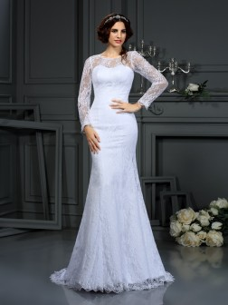 Sheath/Column Scoop Lace Long Sleeves Court Train Satin Wedding Dresses