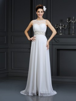 A-Line/Princess Bateau Ruffles Sleeveless Chapel Train Chiffon Wedding Dresses