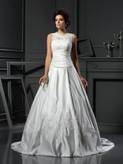 A-Line/Princess High Neck Applique Sleeveless Chapel Train Satin Wedding Dresses