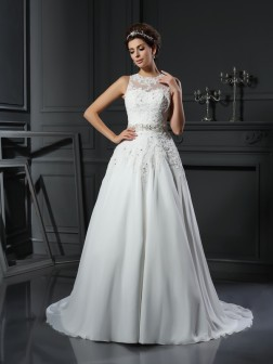 A-Line/Princess High Neck Beading Sleeveless Chapel Train Satin Wedding Dresses