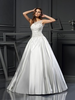 Ball Gown Scoop Applique Sleeveless Chapel Train Satin Wedding Dresses