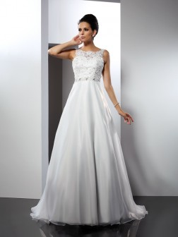 A-Line/Princess Scoop Ruffles Sleeveless Chapel Train Satin Wedding Dresses