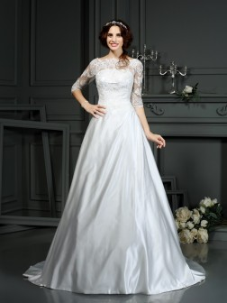 A-Line/Princess Bateau Lace 1/2 Sleeves Court Train Satin Wedding Dresses