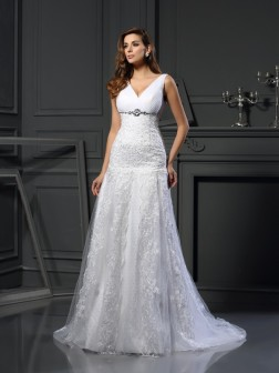 A-Line/Princess V-neck Beading Sleeveless Chapel Train Satin Wedding Dresses