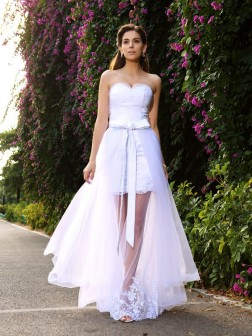 Trumpet/Mermaid Sweetheart Applique Sleeveless Floor-Length Tulle Wedding Dresses