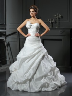 Ball Gown Sweetheart Hand-Made Flower Sleeveless Cathedral Train Satin Wedding Dresses