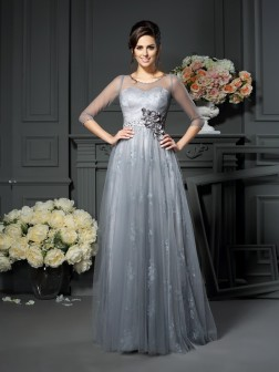 A-Line/Princess Scoop Lace 1/2 Sleeves Floor-Length Satin Mother of the Bride Dresses