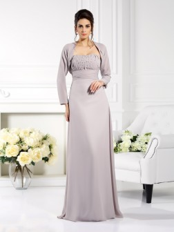 A-Line/Princess Strapless Beading Sleeveless Floor-Length Chiffon Mother of the Bride Dresses