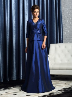 A-Line/Princess V-neck Beading 1/2 Sleeves Floor-Length Taffeta Mother of the Bride Dresses