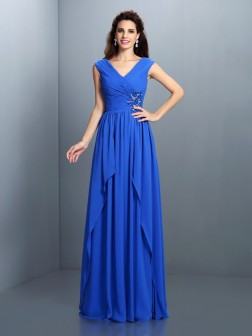 A-Line/Princess V-neck Beading Pleats Sleeveless Floor-Length Chiffon Dresses