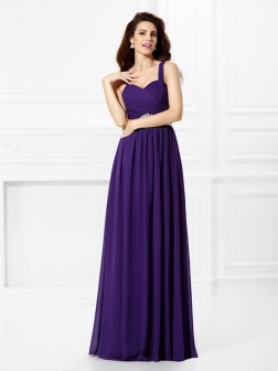 A-Line/Princess Sweetheart Beading Pleats Sleeveless Floor-Length Chiffon Dresses