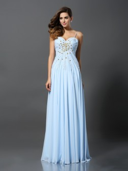 A-Line/Princess Spaghetti Straps Beading Sleeveless Sweep/Brush Train Chiffon Dresses