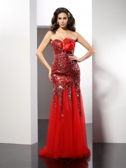 Sheath/Column Sweetheart Sequin Sleeveless Floor-Length Elastic Woven Satin Dresses