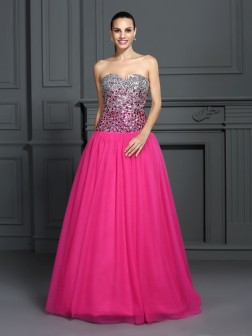 Ball Gown Sweetheart Sleeveless Floor-Length Organza Dresses