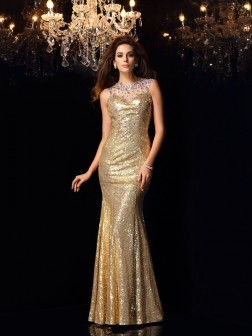 Trumpet/Mermaid High Neck Sleeveless Floor-Length Sequins Dresses