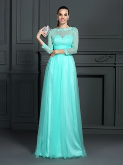 A-Line/Princess Bateau Lace 3/4 Sleeves Sweep/Brush Train Elastic Woven Satin Dresses