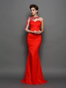 Trumpet/Mermaid High Neck Embroidery Long Sleeves Court Train Elastic Woven Satin Dresses