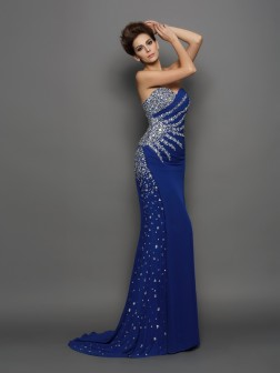 Trumpet/Mermaid Sweetheart Rhinestone Sleeveless Court Train Chiffon Dresses