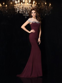 Trumpet/Mermaid High Neck Applique Sleeveless Court Train Elastic Woven Satin Dresses