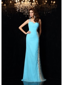 Sheath/Column One-Shoulder Rhinestone Sleeveless Floor-Length Chiffon Dresses