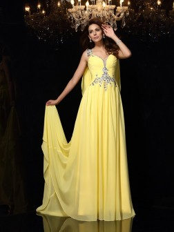 A-Line/Princess Straps Beading Sleeveless Court Train Chiffon Dresses