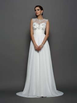 A-Line/Princess Bateau Applique Sleeveless Court Train Chiffon Dresses