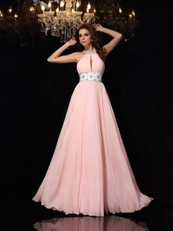 A-Line/Princess High Neck Pleats Sleeveless Floor-Length Chiffon Dresses
