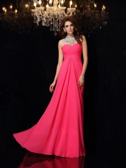 A-Line/Princess High Neck Ruched Sleeveless Sweep/Brush Train Chiffon Dresses
