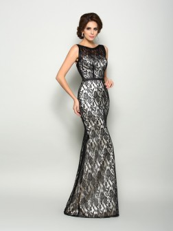 Trumpet/Mermaid Bateau Lace Sleeveless Floor-Length Elastic Woven Satin Mother of the Bride Dresses