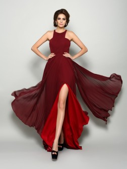 A-Line/Princess High Neck Ruched Sleeveless Sweep/Brush Train Chiffon Mother of the Bride Dresses