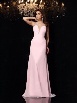 Trumpet/Mermaid Scoop Beading Sleeveless Court Train Chiffon Dresses