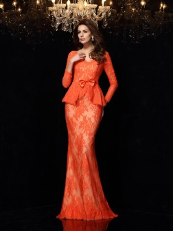 Sheath/Column V-neck Bowknot Long Sleeves Sweep/Brush Train Lace Dresses
