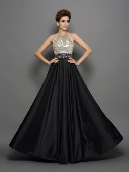 A-Line/Princess High Neck Sequin Sleeveless Floor-Length Taffeta Dresses