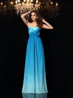 A-Line/Princess Sweetheart Ruched Sleeveless Floor-Length Chiffon Dresses