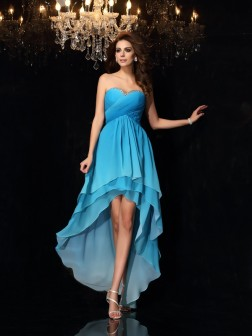 A-Line/Princess Sweetheart Ruched Sleeveless Asymmetrical Chiffon Dresses