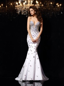 Trumpet/Mermaid Sweetheart Rhinestone Sleeveless Court Train Satin Dresses