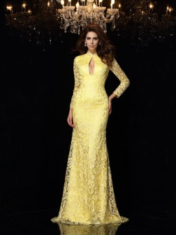 Sheath/Column High Neck Lace Long Sleeves Sweep/Brush Train Satin Dresses