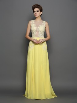 A-Line/Princess Scoop Lace Sleeveless Sweep/Brush Train Chiffon Dresses
