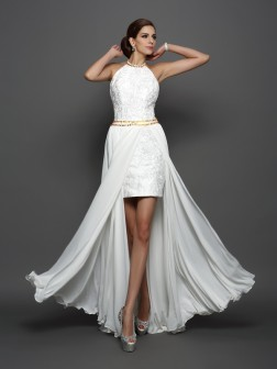 A-Line/Princess High Neck Lace Sleeveless Chapel Train Chiffon Wedding Dresses