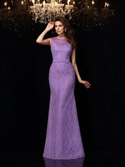 Sheath/Column Scoop Lace Sleeveless Floor-Length Satin Dresses